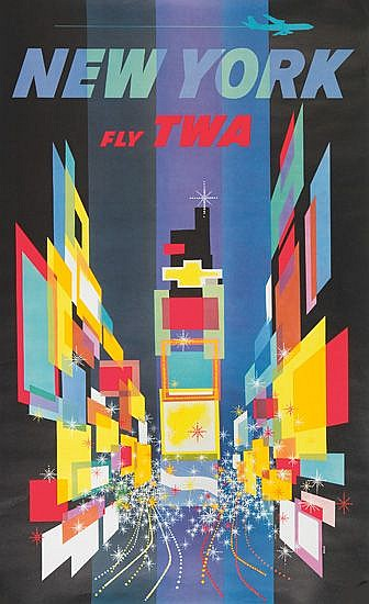 DAVID KLEIN (1918-2005). NEW YORK / FLY TWA. Circa 1960. 40x24 inches, 101x63 cm.