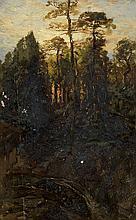 JAMES D. SMILLIE Mountainous Landscape with a Sunset.