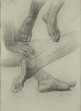 ELIHU VEDDER Sheet of Studies of Hands and Feet.