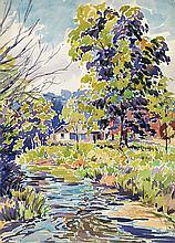 JOHN PIERCE BARNES Group of 5 watercolors.