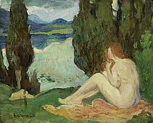 ARTHUR B. DAVIES Landscape with a Seated Female Nude.