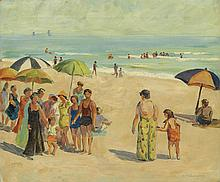 MABEL MAY WOODWARD Beach Scene with Bathers.