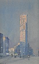 GEORGE C. AULT City Scene with Omnibuses.
