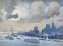JOSEPH PENNELL Clouds over New York Harbor.