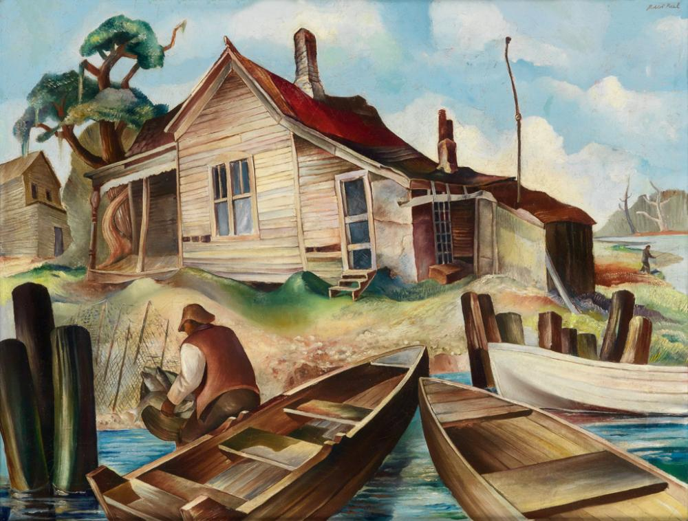 ROBERT NEAL (1916 - 1989) Untitled (Fisherman's House at River's Edge).