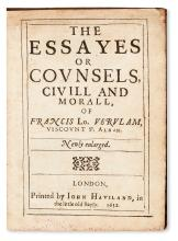 BACON, FRANCIS, Sir.  The Essayes or Counsels, Civill and Morall . . . Newly enlarged.  1632