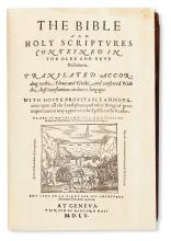 BIBLE IN ENGLISH.  The Bible and Holy Scriptures.  1560. Lacks the 4 preliminaries and 3 other leaves, with general title in facsimile.