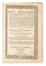 BIBLE IN ENGLISH.  The New Testament of Jesus Christ translated faithfully into English. 1582. Lacks leaf from Table of Controversies.