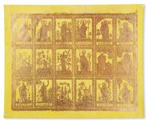 DECORATED PAPER.  Sheet of brocade paper with depictions of saints and other motifs.  19th century?