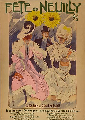 MISTI (FERDINAND MIFLIEZ) (1865-1923) FETE DE NEUILLY. 1905. 54x38 inches. La Lithographie Nouvelle, Asniers.