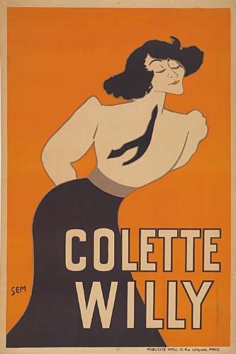 SEM (GEORGES GOURSAT) (1863-1934) COLETTE WILLY. 46x31 inches. Publicite Wall, Paris.