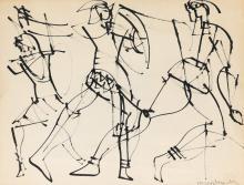 ROMARE BEARDEN (1911 - 1988) Untitled (Three Gladiators).