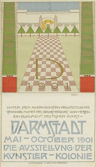 JOSEPH MARIA OLBRICH (1867-1908). DARMSTADT. 1901. 32x18 inches, 82x47 cm. Hofdruckerei H. Hohmann, Darmstadt.