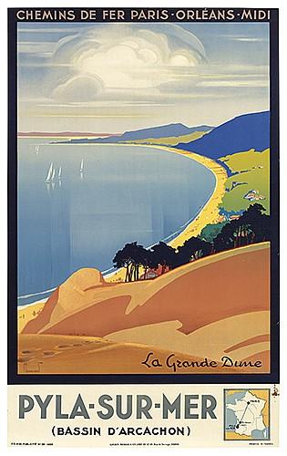 \PIERRE COMMARMOND (1897-1983). PYLA-SUR-MER / CHEMINS DE FER. 1935. 39x24 inches, 100x62 cm. Lucien Serre & Cie., Paris.