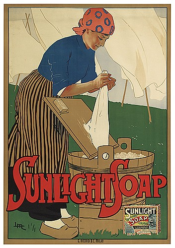 LEOPOLDO METLICOVITZ (1868-1944). SUNLIGHT SOAP. 1900. 55x38 inches, 140x98 cm. G. Ricordi, Milan.