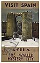 RAFAEL DE PENAGOS ZALABARDO (1889-1954). VISIT SPAIN / AVILA. 1929. 39x24 inches, 99x61 cm. Volvntad, Madrid., Rafael
