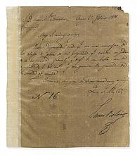 BOLÍVAR, SIMÓN. Letter Signed, to Juan W. Camacho, in Spanish,