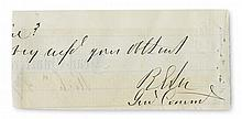 (CIVIL WAR.) ROBERT E. LEE. Clipped portion of an Autograph Letter Signed,