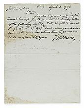 MORRIS, ROBERT. Autograph Letter Signed,
