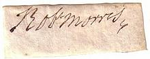 MORRIS, ROBERT. Clipped Signature,