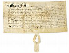 PENN, WILLIAM. Vellum Document Signed,