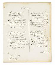 SMITH, SAMUEL FRANCIS. Autograph Manuscript dated and Signed,