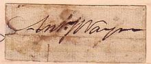 WAYNE, ANTHONY. Clipped Signature,