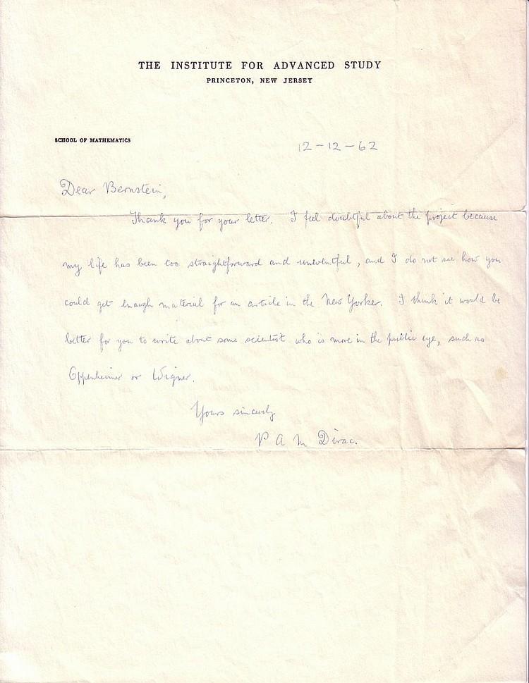 DIRAC, PAUL A M  Autograph Letter Signed,