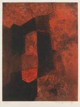 SERGE POLIAKOFF Composition brune et rouge.