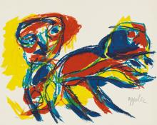 KAREL APPEL Three color lithographs.
