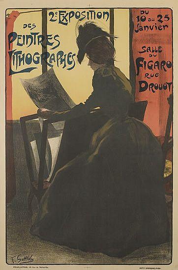 FERDINAND LOUIS GOTTLOB (1873-1935). 2E EXPOSITION DE PEINTRES LITHOGRAPHES. 1898. 47x31 inches, 119x79 cm. Lemercier, Paris.
