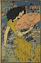 EUGÈNE GRASSET (1841-1917). [L'ÉVENTAIL.] Decorative panel. 1900. 51x33 inches, 129x84 cm.