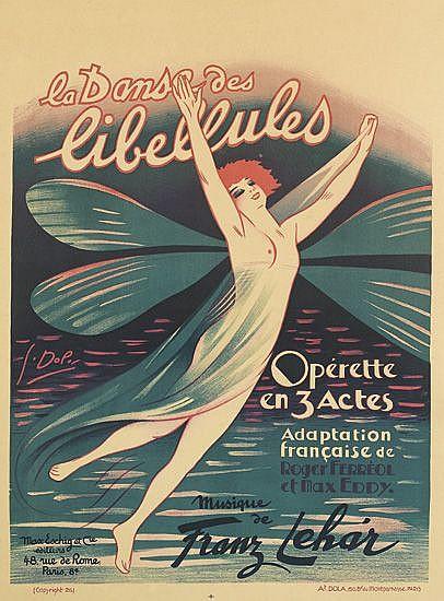 GEORGES DOLA (1872-1950). LA DANSE DES LIBELLULES. 1926. 31x23 inches, 79x58 cm. At. Dola, Paris.