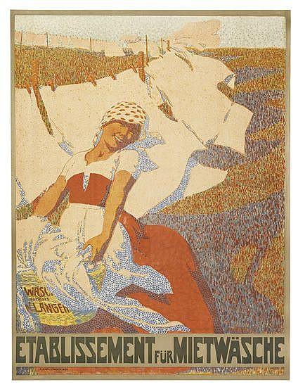 ADOLF KARPELLUS (1869-1919). ESTABLISSEMENT FÜR MIETWÄSCHE. 47x36 inches, 119x91 cm. K. Hofl. J. Weiner, Vienna.