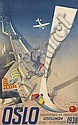 HARALD DAMSLETH (1906-1971). OSLO. 1938. 39x24 inches, 99x62 cm. Norsk Lith. Officin, Oslo., Harald Damsleth, Click for value