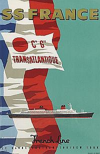 JEAN JACQUELIN (1905-1989). SS FRANCE / FRENCH LINE. 23x14 inches, 60x37 cm. Hubert Baille, Paris.