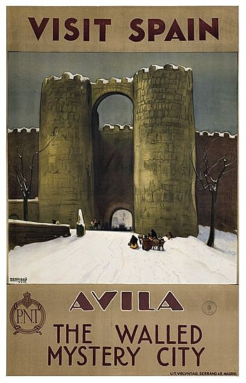 RAFAEL DE PENAGOS ZALABARDO (1889-1954). VISIT SPAIN / AVILA. 1929. 39x24 inches, 99x61 cm. Voluntad, Madrid.