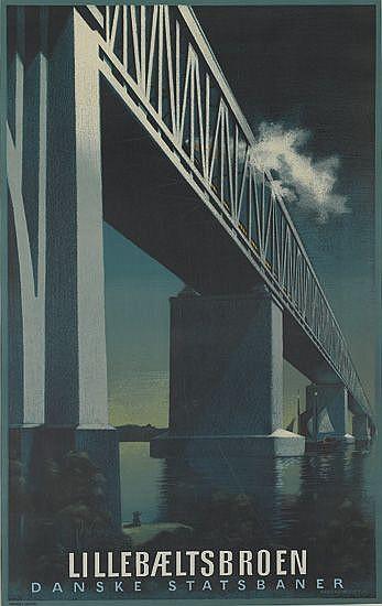 AAGE RASMUSSEN (1913-1975). LILLEBAELTSBROEN. 1951. 38x24 inches, 98x61 cm. Andreasen & Lachmann, Copenhagen.