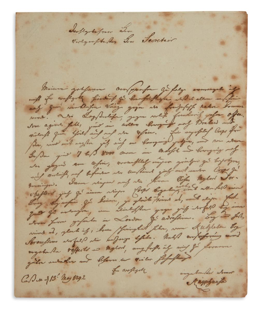 """""""7 TO 8 THOUSAND MEN ARE ON THE MARCH TO THE RHINE"""" WILHELM VON KNYPHAUSEN. Letter Signed, """"Knyphausen,"""" as M..."""