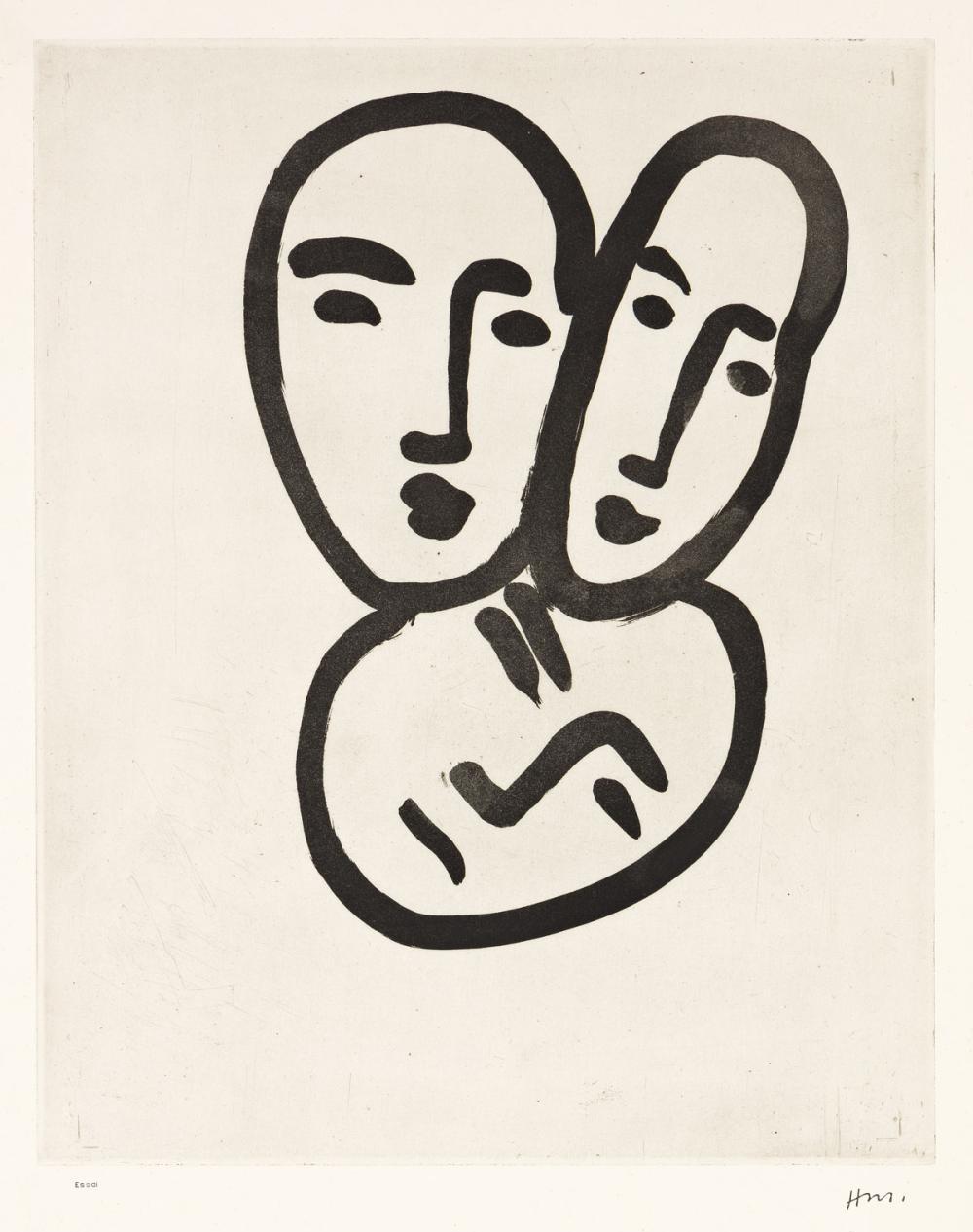 HENRI MATISSE Trois Têtes; À l'amitié (Masques d'Apollinaire, Matisse et Rouveyre).