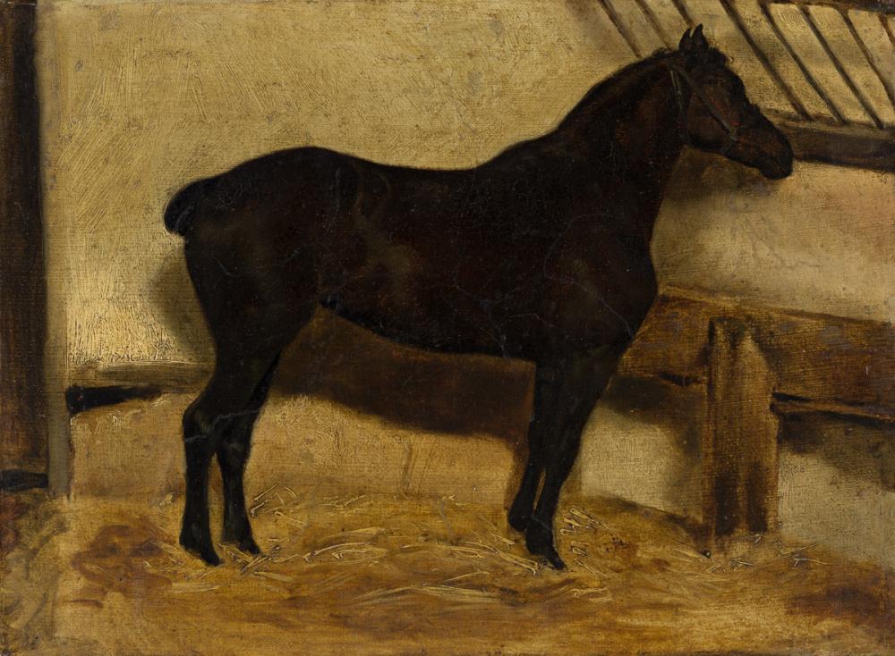 THÉODORE GÉRICAULT (Rouen 1791-1824 Paris) Jument noire à l'Écurie.