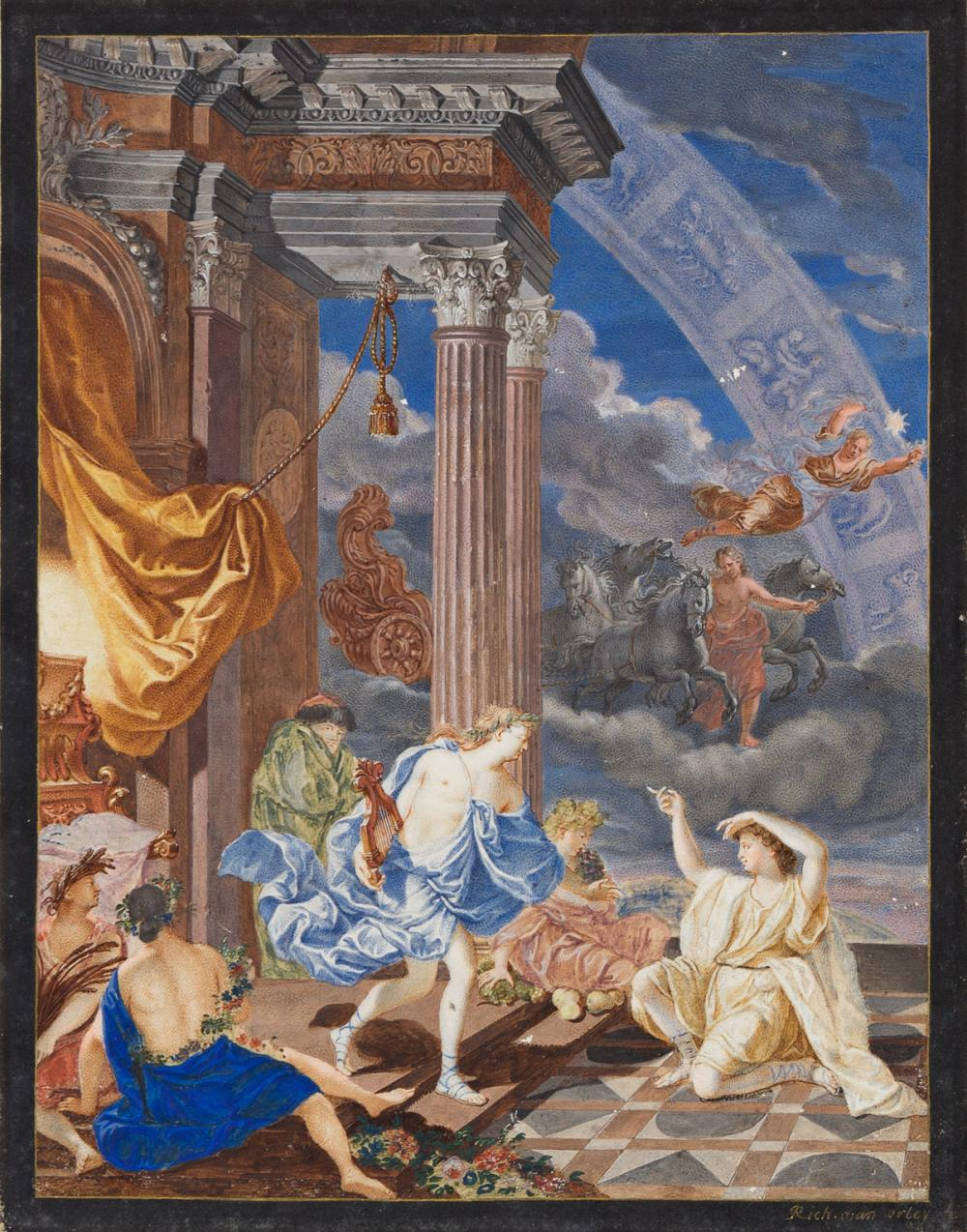RICHARD VAN ORLEY (Brussels 1663-1732 Brussels) Apollo and Attendants at his Temple with the Signs of the Zodiac in the Sky * A Large S