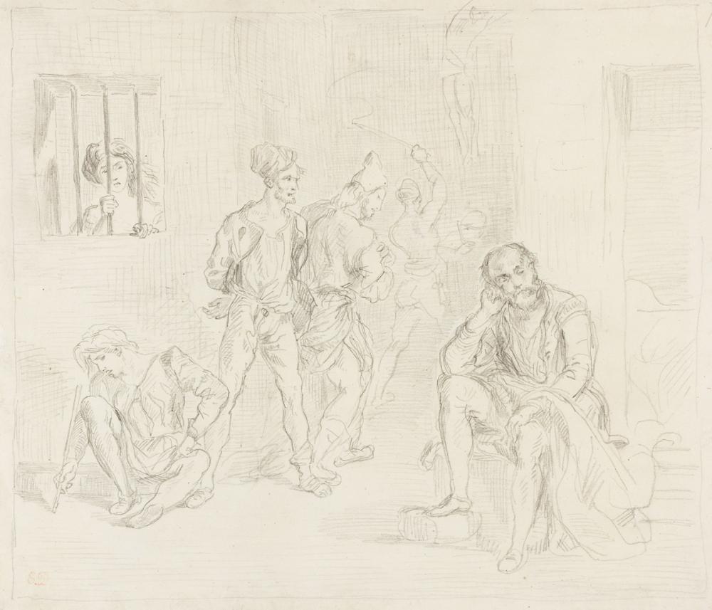 EUGÈNE DELACROIX (Saint-Maurice 1798-1863 Paris) Le Tasse dans le Maison des Fous.