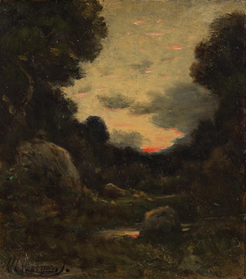 HENRI-JOSEPH HARPIGNIES (Valenciennes 1819-1916 Saint-Privé) Coucher du Soleil.