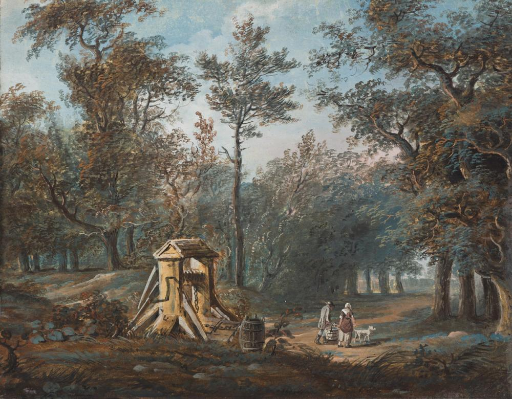 PAUL SANDBY (Nottingham 1731-1809 London) Figures at a Well in a Woodland.