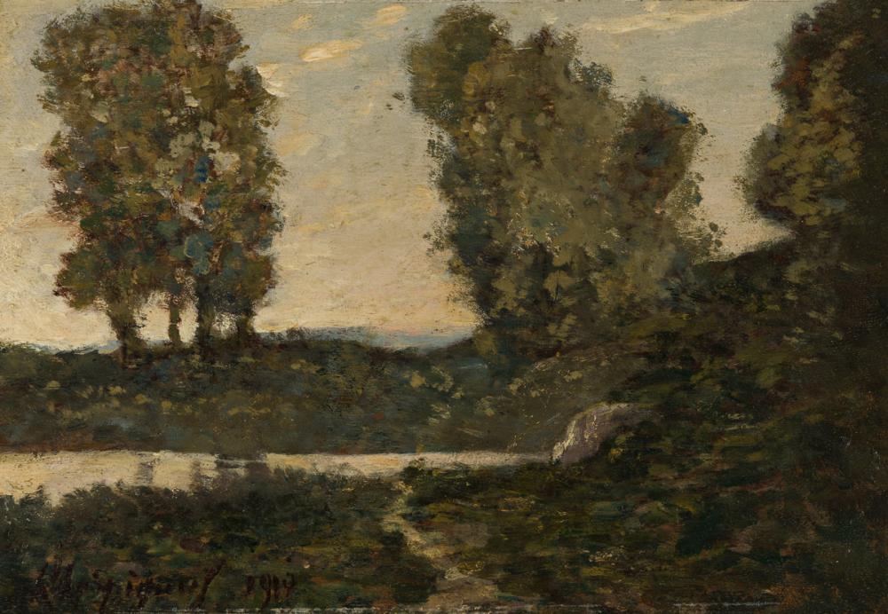 HENRI-JOSEPH HARPIGNIES (Valenciennes 1819-1916 Saint-Privé) Le Petit Rivière.