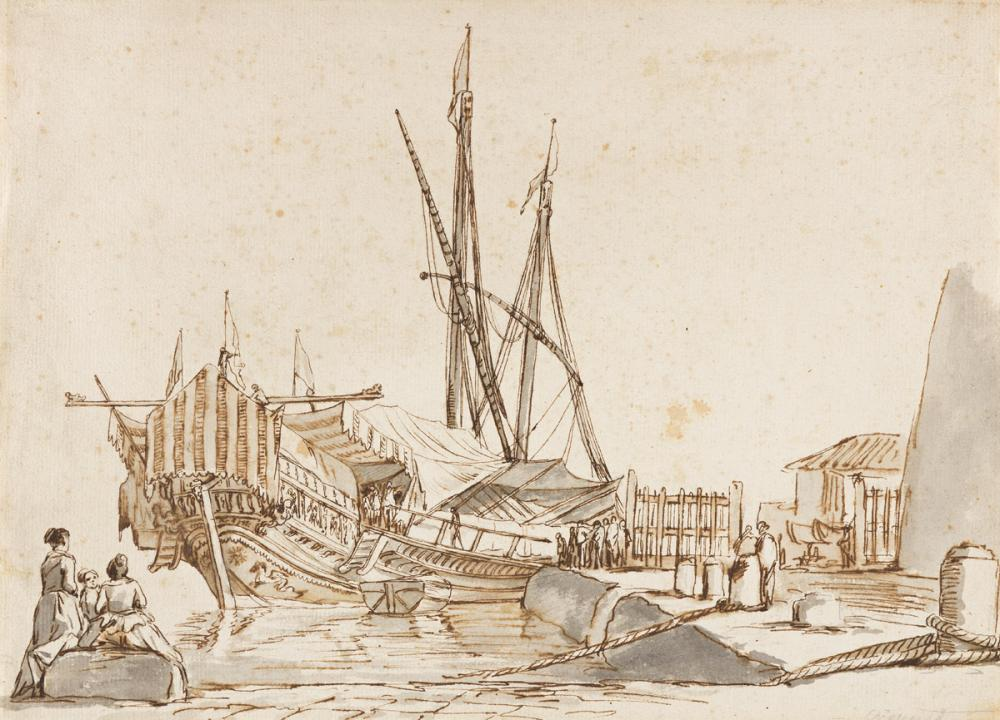 CLAUDE-JOSEPH VERNET (Avignon 1714-1789 Paris) A Harbor Scene with a Docked Ship.