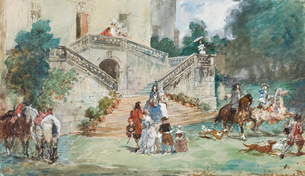 EUGÈNE LAMI (Paris 1800-1890 Paris) Le Départ pour la chasse.