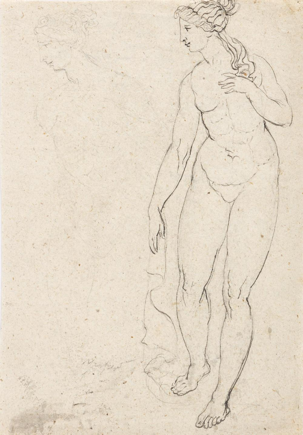 JAMES BARRY (ATTRIBUTED TO) (Cork 1741-1806 London) Standing Female Nude.