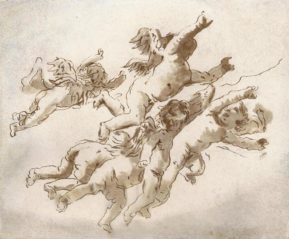 GIOVANNI D. TIEPOLO (Venice 1724-1804 Venice) Six Flying Putti.